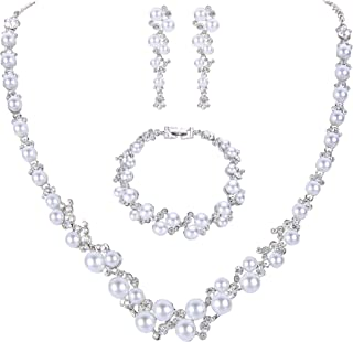 Simulated Pearl Crystal Bridal Necklace Earrings Bracelet Set Clear