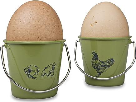 Preisvergleich für Eddingtons Vintage Henne und Hahn Eierbecher, 4er-Set, Salbeigrün