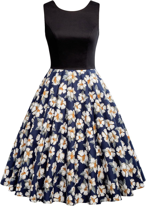 GRACE KARIN JS Fashion Vintage Dress Women's 1950's Vintage Sleeveless Swing Dresses JS6086 Black