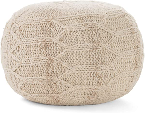 GDFStudio 299699 Magnolia Handwoven 100 Wool Pouf Ivory
