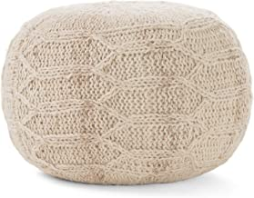 Christopher Knight Home Magnolia Handwoven 100% Wool Pouf (Ivory)
