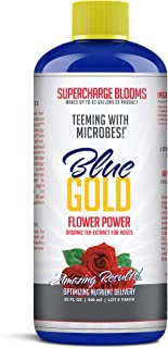 Blue Gold Flower Power Organic Tea Extract for Roses. Supercharge Blooms. Rose Tea. Worm Compost Juice. (32 fl oz Concentrate Bottle)