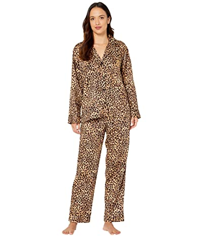 LAUREN Ralph Lauren Petite Classic Sateen Long Sleeve Notch Collar Long Pants Pajama Set (Brown Print) Women