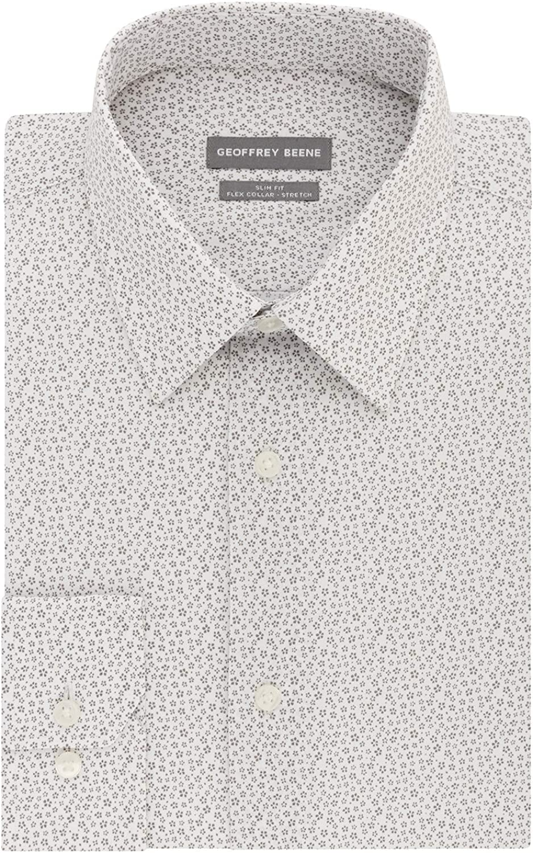 Geoffrey Beene Men's Dress Shirt Slim Fit Flex Collar Stretch Print