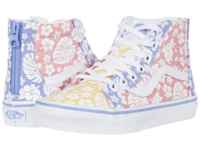 Vans Kids Sk8-Hi Zip (Little Kid) ((Hawaiian Floral) Multi/True White) Girls Shoes
