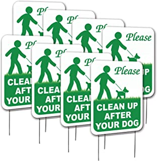 Visibility Signage 8-9x12 Clean Up After Your Dog Lawn Signs with H-Stakes (8)