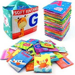 26 Pieces Soft Alphabet Cards with Cloth Storage Bag for Babies Infants, Toddlers and Kids ABCs Learning Flash Cards, Best...