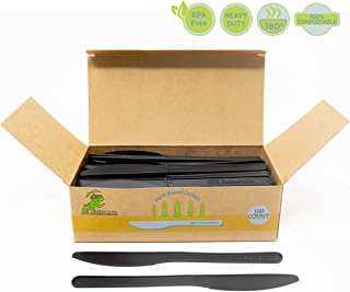 Compostable Heavyweight Disposable Knives - 100 COUNT CPLA KNIVES - Eco Friendly Compostable knives made from cornstarch