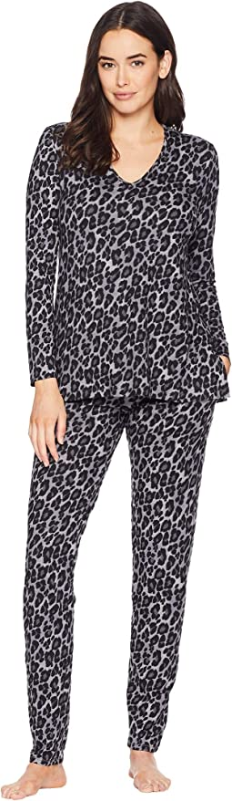 Wild Instinct Printed Peached Knit PJ Set
