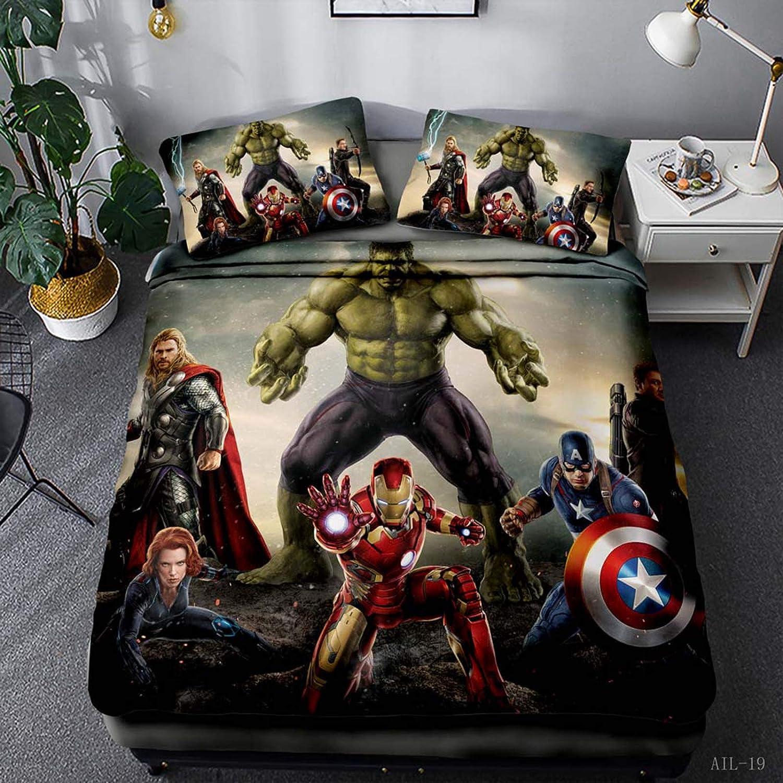 WTTING Avengers 135 x 200 cm Parure da letto 3D in microfibra Hulk per bambini e adolescenti motivo: Spiderman copripiumino e federa Capitan America