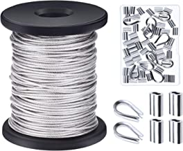 Canomo 1/16 Inch x 98 Feet (1.5mm x 30 Metres) Vinyl Coated 304 Stainless Steel Picture Hanging Wire Rope Cable with 50 Pieces Aluminum Crimping Sleeves, 10 Pieces Thimble