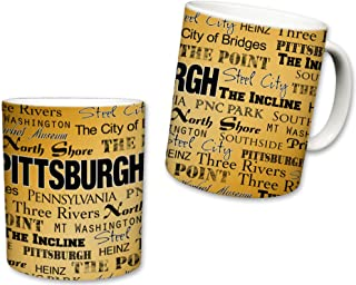 Sweet Gisele   City of Pittsburgh Inspired Mug   Ceramic Coffee Cup   Printed Text Theme   Pennsylvania Pride   Area Landmarks   Black & Yellow Detail   Yellow Accent   Great Novelty Gift   11 Fl. Oz