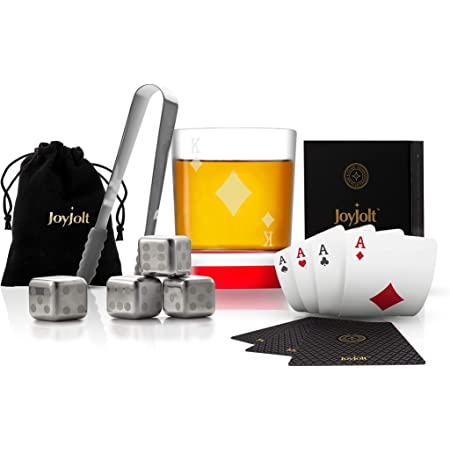 JoyJolt Poker Whiskey Glass Set - King of Diamonds Semi Square Rocks Glass Tumbler, 4x Dice Whiskey Stones, Dice Bag, Playing Cards Deck, Mini Tongs for Reusable Ice Cubes. Cool Whiskey Gifts for Men