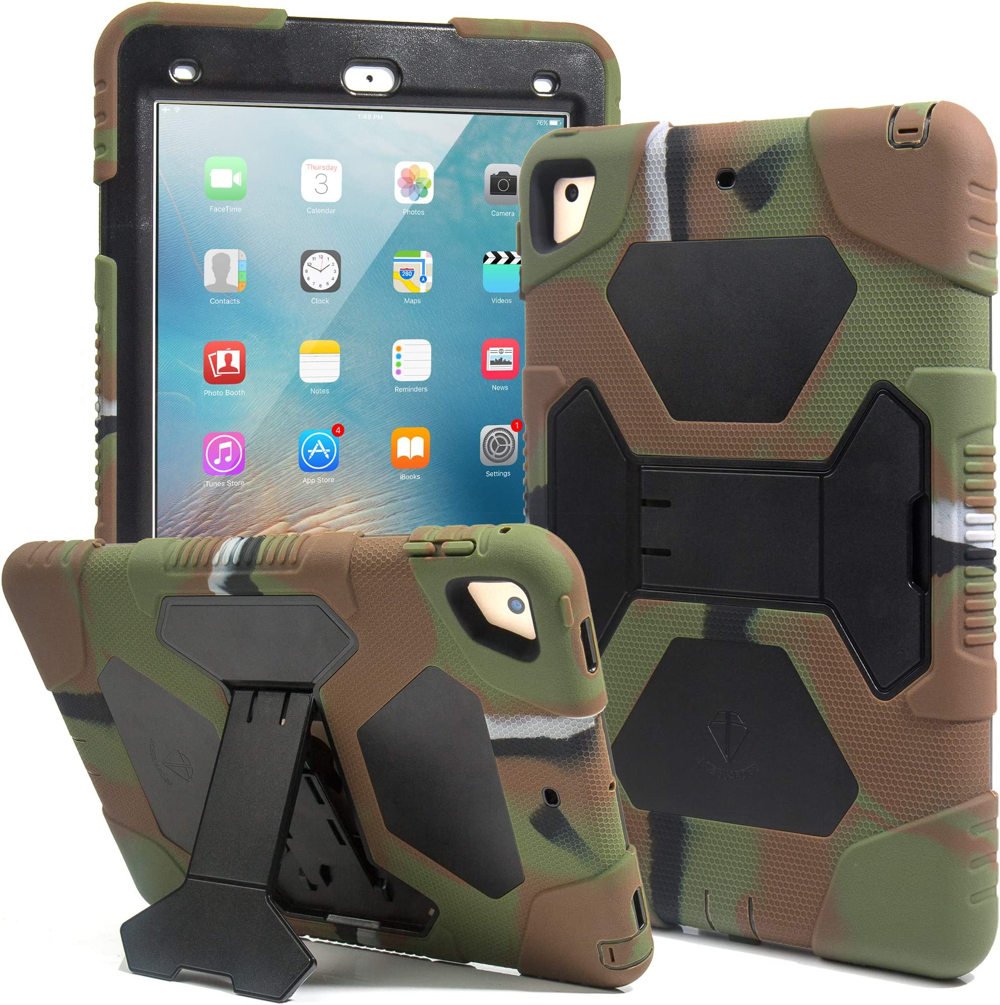 Kids Case for iPad 9.7 2018/2017, iPad Air 2, iPad Pro 9.7 Case Full Body Protective Silicone Cover Adjustable Kickstand for Apple iPad 9.7 5th / 6th Generation (Army/Black)