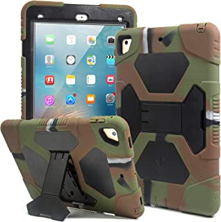 Kids Case for iPad 9.7 2018/2017, iPad Air 2, iPad Pro 9.7 Case Full Body Protective Silicone Cover Shockproof Scratchproof & Adjustable Kickstand for Apple iPad 9.7 5th / 6th Generation (Army/Black)