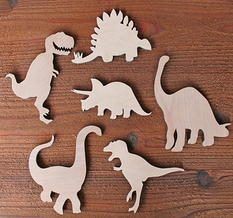 Set Of 6 Large Dinosaur Wood Cutout Shapes 6 8 10 Or 12 Available Cut Out T Rex Brontosaurus Brachiosaurus Velociraptor More