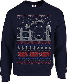 Graphic Impact I Love London Christmas Santa, Reindeer Big Ben, London Eye, Tower Bridge London Bus Funny Ugly Christmas J...
