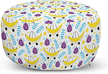 Lunarable Fruit Ottoman Pouf, Summer Season Food Grapes and Banana with Leaf Illustration Hand Drawn Sketch Design, Decorative Soft Foot Rest with Removable Cover Living Room and Bedroom, Multicolor