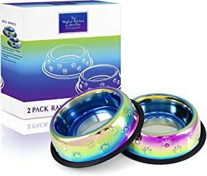 The Magical Kitchen Collection - Iridescent Rainbow Pet Bowl Set - Heavy Duty Stainless Steel Water & Feeder Bowls for Cats/Dogs with Non-Skid Rubber Base, 32 Oz. / 4 Cup Capacity Each (Set of 2)