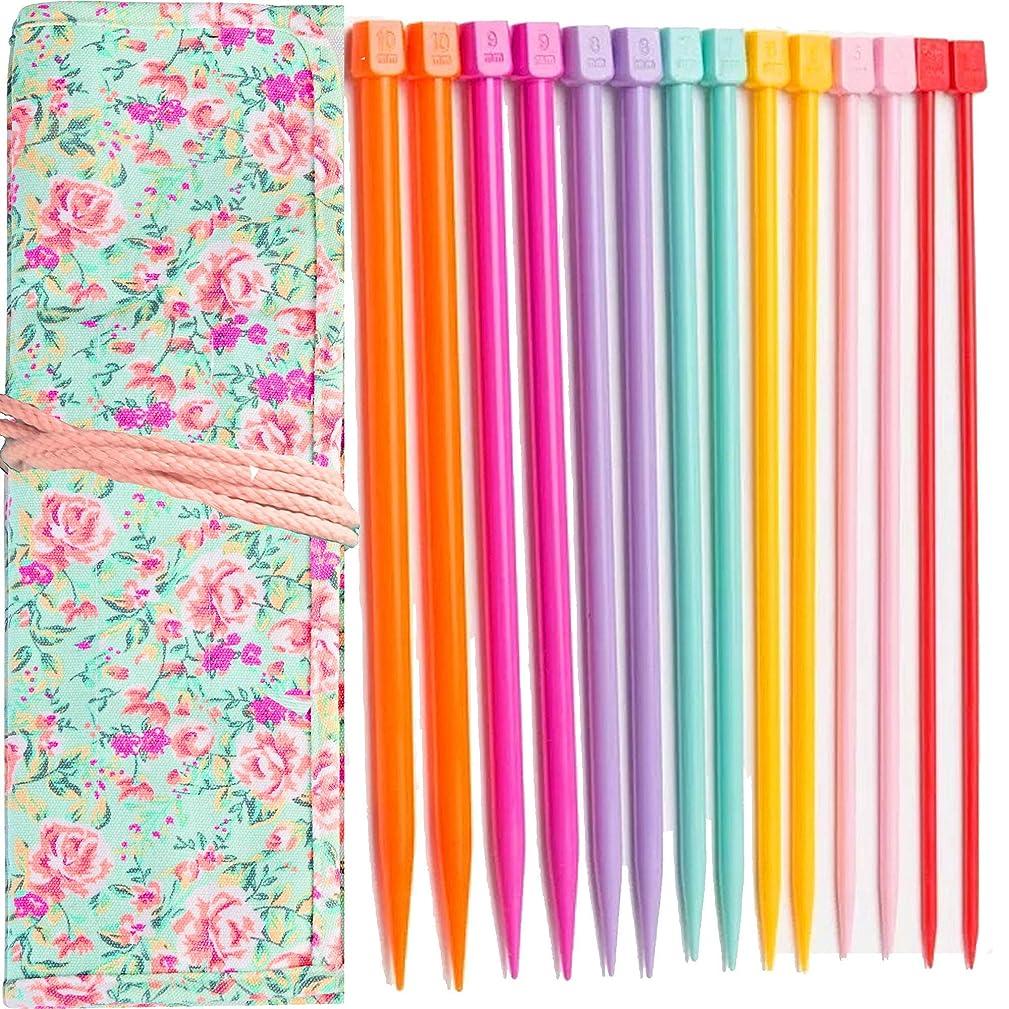 Plastic Knitting Needles Set Knitting Needle Case Knitting Kits for Beginners+??durable cloth knitting bag??