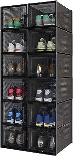 Meerveil Lot de 12 Boîtes à Chaussures Empilable, Rangement Boite Chaussure en Plastique avec Porte, 35 x 25 x 18.7 cm, po...