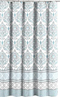 C.H.D Home Teal Grey White Canvas Fabric Shower Curtain: Floral Damask with Geometric Border Design