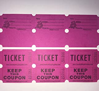 fb 100 Hot Pink Colored Raffle Tickets Double Roll 50/50 Carnival Fair Split The Pot One Hundred Consecutively Numbered Fundraiser Festival Event Party Door Prize Drawing Perforated Stubs