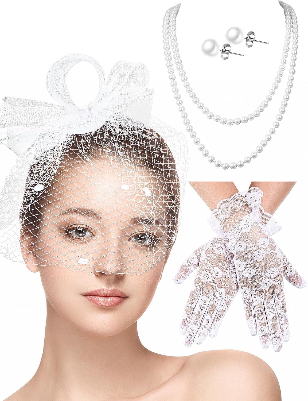 4 Pieces Fascinators Hat Feather Veil Hat Cocktail Headwear Lace Gloves