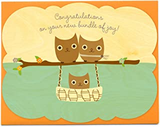 Night Owl Paper Goods Baby Hoot Sky Wood Congratulations Card