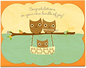 product image for Night Owl Paper Goods Baby Hoot Sky Wood Congratulations Card