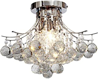 Saint Mossi Chandelier Modern K9 Crystal Raindrop Chandelier Lighting Flush Mount LED Ceiling Light Fixture for Dining Room Bathroom Bedroom Livingroom Pendant Lamp 11