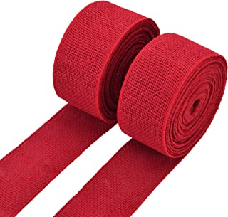 eBoot 2 Rolls Burlap Wired Ribbon Natural Weave Ribbon with Wired Edge for Christmas Crafts Decoration (Red, 2.4 Inches by...
