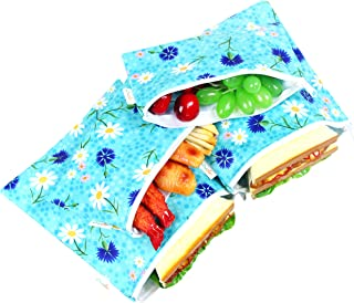 Giecle Reusable Sandwich Snacks Bags 4 Pack for Kids & Adults,Washable Durable Zipper Lunch Bags, Perfect for Fruits, Vegetables & Snacks,Dishwasher(Fresh Flower)