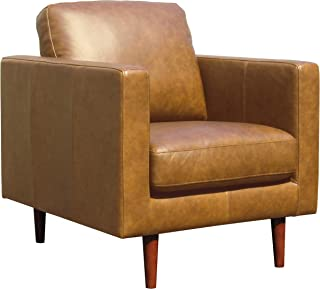 """Amazon Brand – Rivet Revolve Modern Leather Armchair with Tapered Legs, 33""""W, Caramel"""
