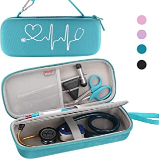 BOVKE Travel Case for 3M Littmann Classic III, Lightweight II S.E, Cardiology IV Diagnostic, MDF Acoustica Deluxe Stethoscopes - Extra Room for Taylor Percussion Reflex Hammer and Penlight, Turquoise
