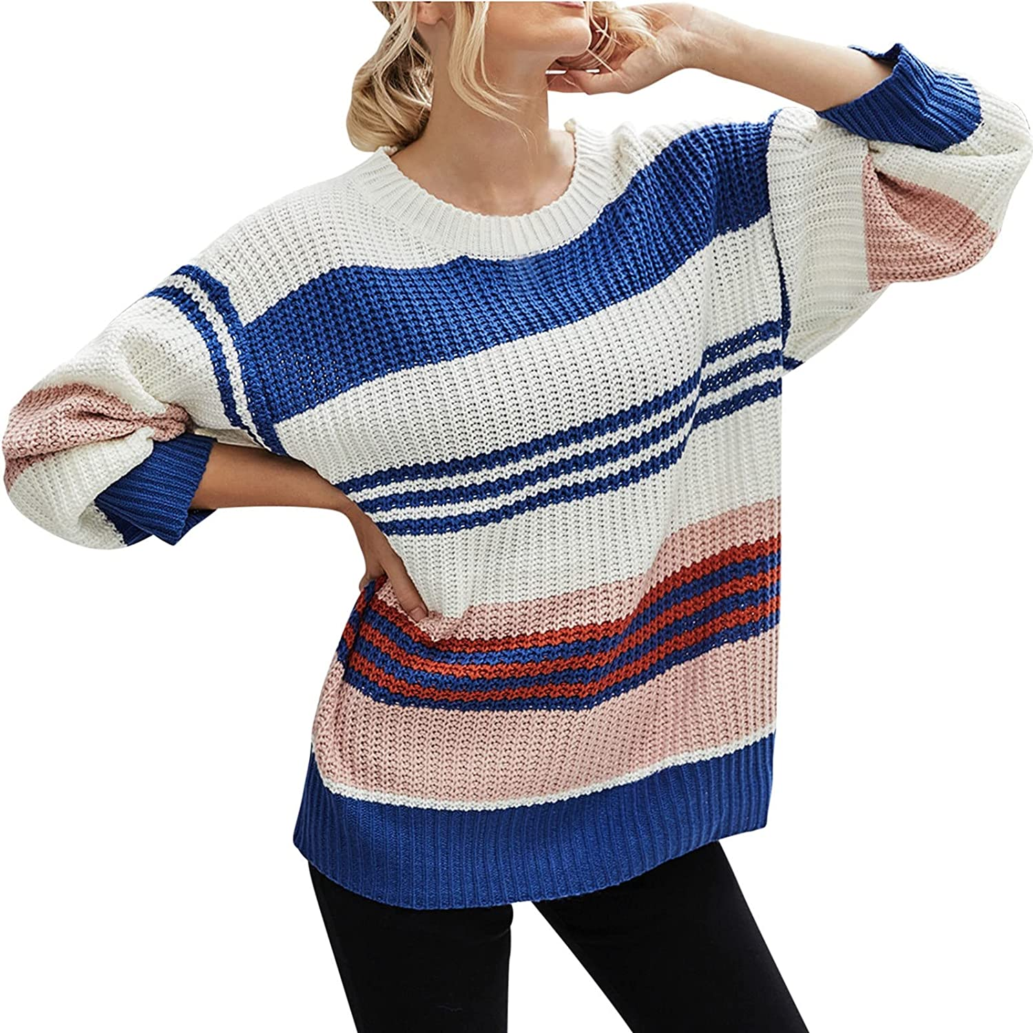 Women's Pullover Sweater Long Sleeve Tunics Round Neck Striped Color Thick Knitted Tops