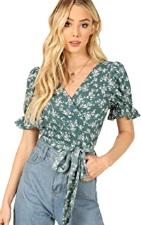Women's V Neck Short Sleeve Self Tie Wrap Floral Crop Tops Blouse