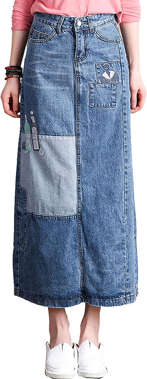 chouyatou Women's Vintage High Waist Elastic Back Splited Long Denim Tube Skirt