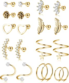 10 Pairs 16G Stainless Steel Ear Cartilage Earrings Tragus Helix Barbell Heart Flower Feather Hoop Earrings Cubic Zirconia Inlaid Cartilage Stud for Men Women