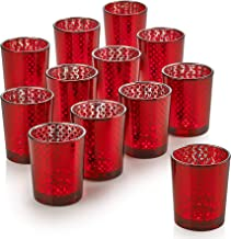 PARNOO Mercury Glass Candle Holders for Votive Candles and Tealights Set of 12 – Lattice Red Finish Perfect for Wedding and Home Decor