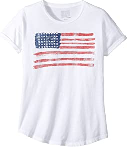 American Flag Slub Crew Neck with Rolled Sleeve Tee (Big Kids)