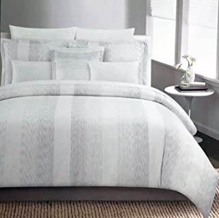 Tahari Bedding Metallic Silver Stripes on Cream Duvet Cover Set Full/Queen 3 Piece Modern Pattern Quilt Comforter Cover - Galaxy