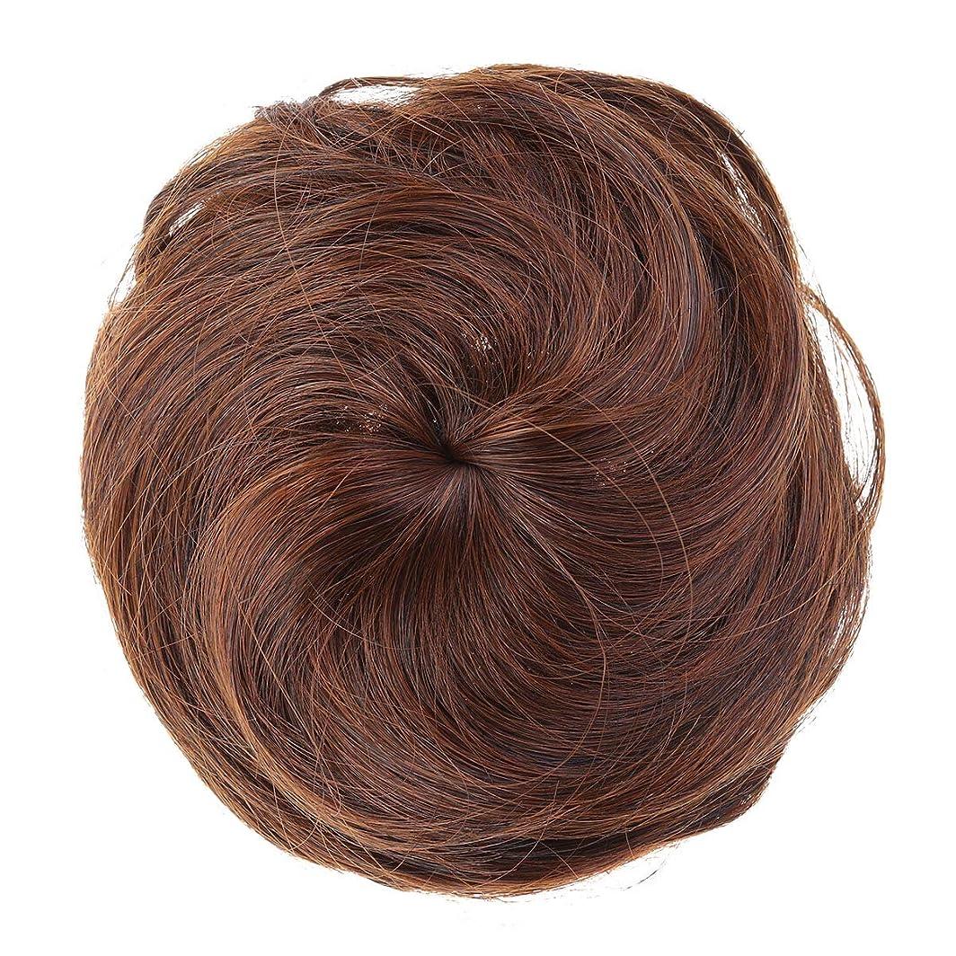 靴情緒的篭Lurrose 女性のための人工毛エクステンションシニョン女性の毛髪のかつらの装飾かつら装飾(ライトブラウン)