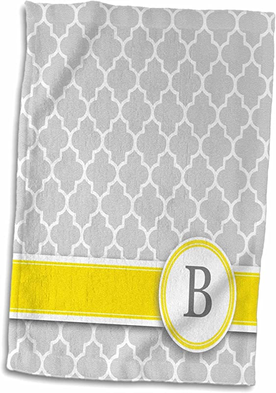 3D Rose Your Name Initial Letter B Monogrammed Grey Quatrefoil Pattern Personalized Yellow Gray Towel 15 X 22 Multicolor