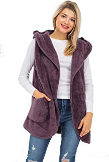 NANAVA Women's Open Front Hooded Faux Fur Side Pockets Cocoon Slouchy Vest