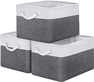 WISELIFE Storage Basket Bins [3-Pack] - Large Collapsible Storage Cubes Organizer for Shelf Closet Bedroom, Perfect Storag...