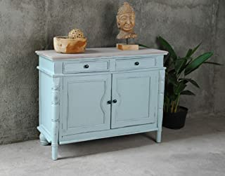 Sunset Trading Shabby Chic Cottage Buffet Cabinet, Sky blue, Limewash