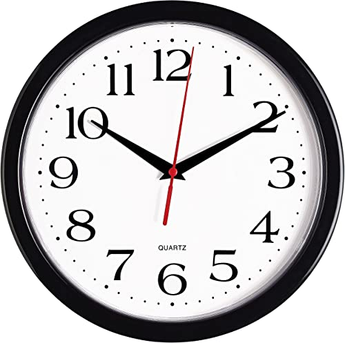 Bernhard Products Black Wall Clock Silent Non Ticking - 10 Inch Quality Quartz Battery Operated Round Easy to Read Ho...