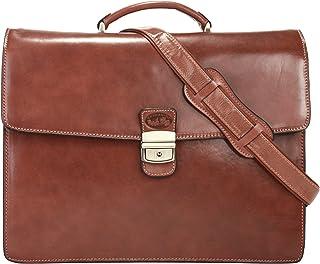 Toscanino - Bolso de Asas de Cuero para Mujer marrón marrón
