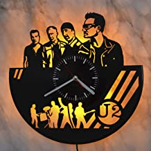 U2 SVG Gift Led Light Vinyl Record Wall Clock - Get Unique Bedroom or livingroom Wall Decor - Gift Ideas for Boys and Girls Perfect Element of The Interior Unique Modern Art